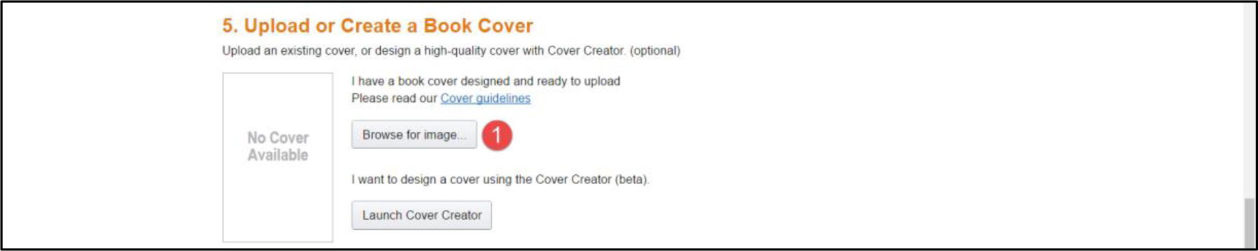 Upload or create book cover