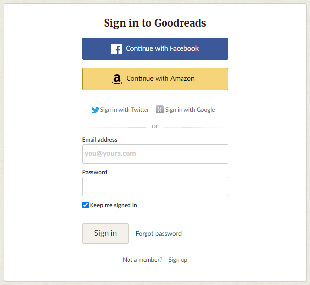 goodreads sign in